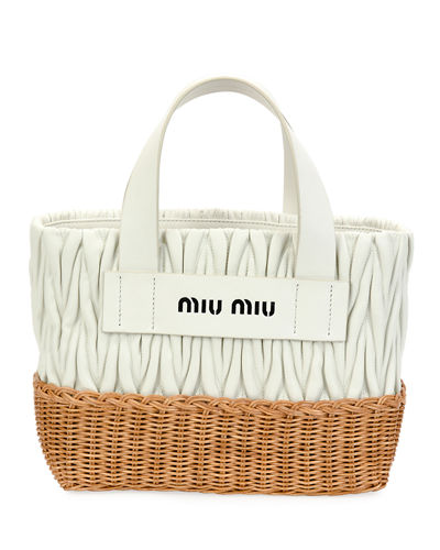 Matelasse Leather & Wicker Tote Bag