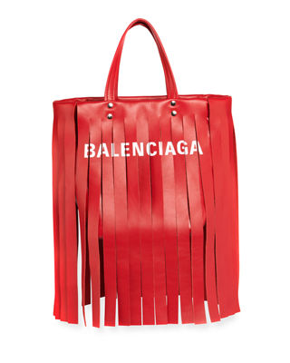 Extra Small Laundry Logo Fringe Calfskin Tote - Red, Red Tulipe/ Blanc