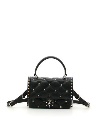 Candystud Lambskin Top Handle Satchel - Black