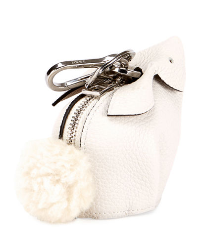Leather Bunny Coin Purse w/Fur Pompom
