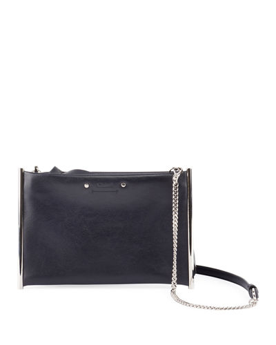 Roy Smooth Calf Leather Shoulder Bag - Silvertone Hardware