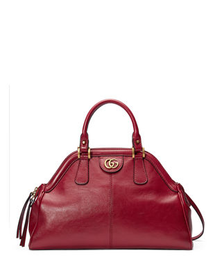 Re(Belle) Medium Leather Top Handle Bag, Red Leather