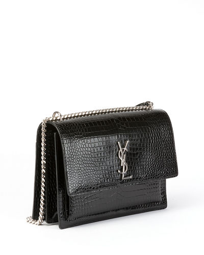Sunset Large Monogram YSL Croc-Embossed Patent Shoulder Bag