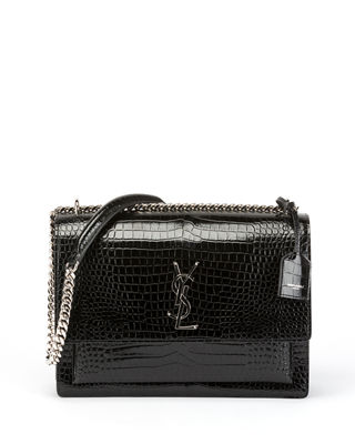 Sunset Large Monogram Ysl Croc-Embossed Patent Shoulder Bag, Noir