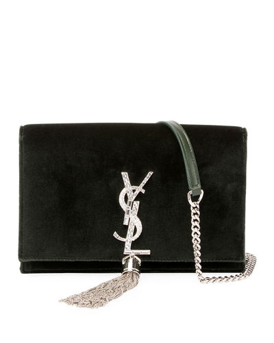 Saint Laurent Kate Velvet Crystal-Monogram YSL Tassel Wallet