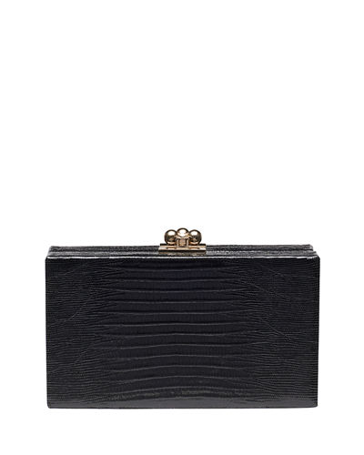 Edie Parker Jean Lizard Box Clutch Bag