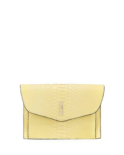 Bobby Shiny Python Envelope Clutch Bag