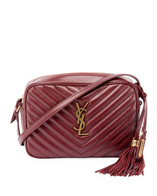 Loulou Monogram Ysl Medium Chevron Quilted Leather Camera Shoulder Bag in Burgundy