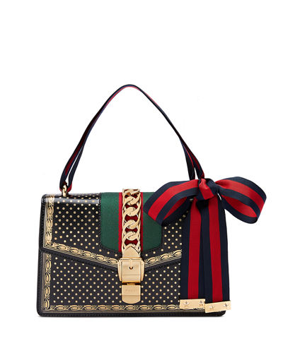 9f4bbb106 Gucci Sylvie Small Stars Leather Shoulder Bag