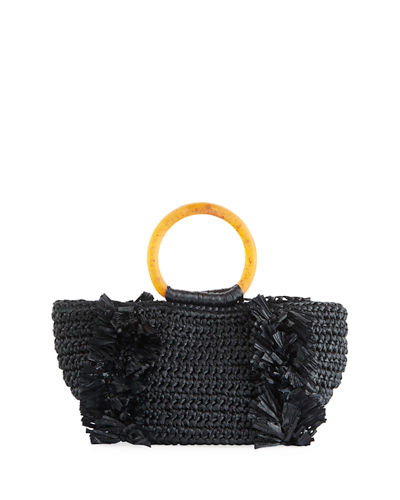 Carolina Santo Domingo Corallina Raffia Ring-Handle Tote Bag
