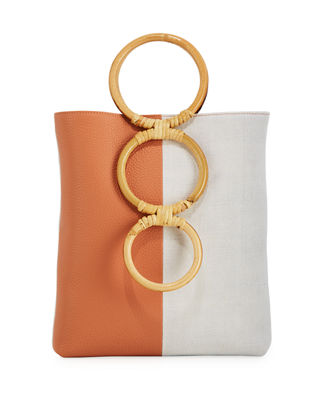 Petra Mini Leather Tote Bag With Bamboo Handles Carolina Santo Domingo