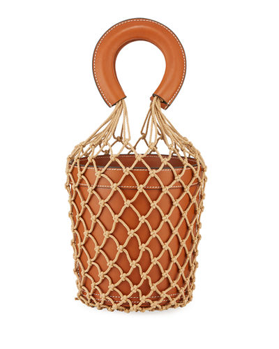 Moreau Leather and Net Bucket Bag