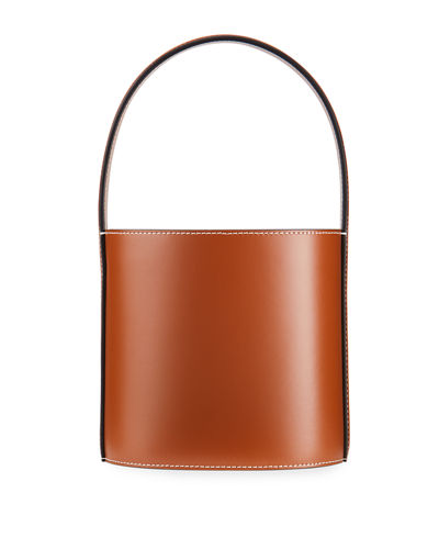 Bissett Smooth Leather Top-Handle Bucket Bag - Saddle