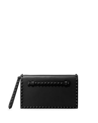 Monochrome Rockstud Leather Wristlet Clutch Bag, Black