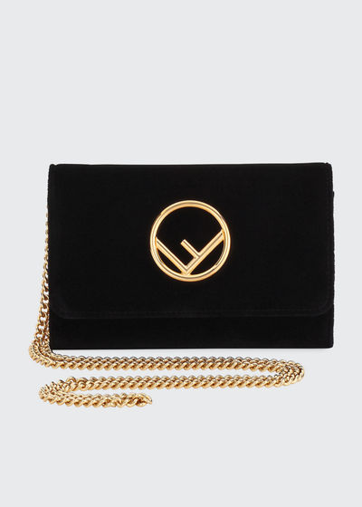 F Logo Velvet Wallet on a Chain