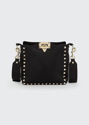 Rockstud Mini Vitello Stampa Leather Hobo Bag, Black