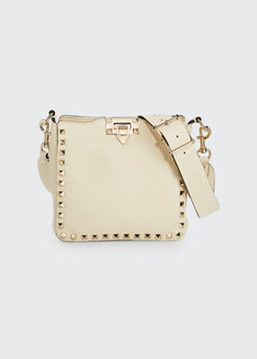 Rockstud Mini Vitello Stampa Leather Hobo Bag in Ivory