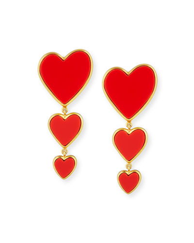 14k Triple Heart Earrings