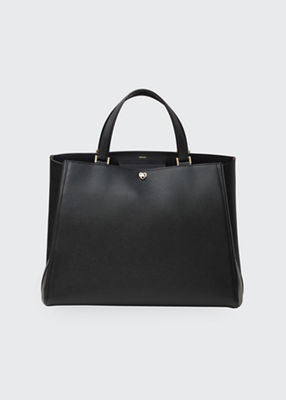 Brera Large Leather Top-Handle Tote Bag in Black from Valextra
