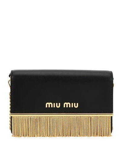 Calf Leather Fringe Shoulder Bag