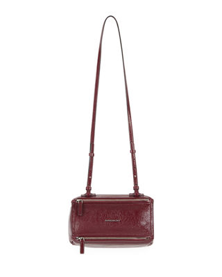 Mini Pandora Creased Patent Leather Satchel - Burgundy, Medium Purple