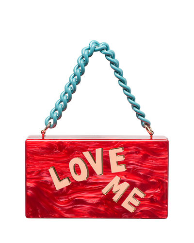 Jean Love Me Acrylic Clutch Bag with Chain Handle