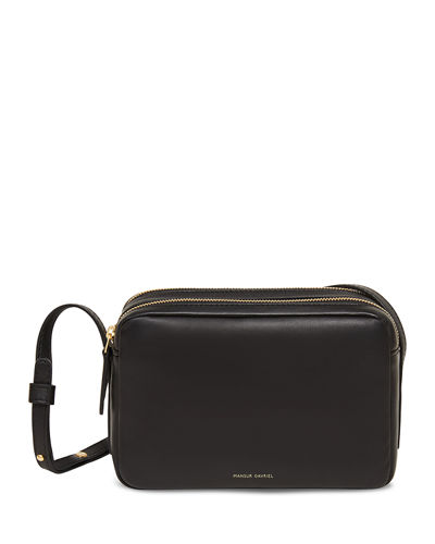 Double-Zip Leather Crossbody Bag
