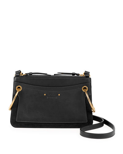 Chloe Roy Mini Leather/Suede Double-Zip Shoulder Bag