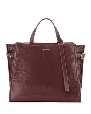 Calvin Klein 209W39Nyc East/West Leather Tote - Burgundy
