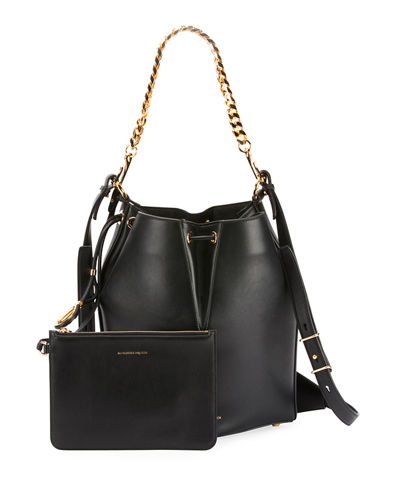 The Bucket Shiny Calf Shoulder Bag - Golden Hardware