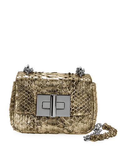 Natalia Laminated Python Mini Shoulder Bag