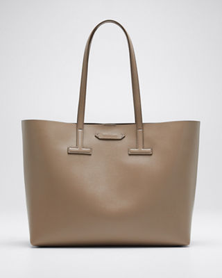 Saffiano Leather Small T Tote Bag in Taupe