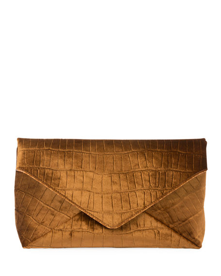 Dries Van Noten CROCODILE-EMBOSSED VELVET ENVELOPE CLUTCH BAG
