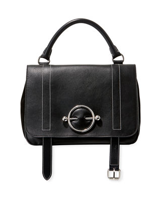 Disc Leather Top Handle Satchel - Black
