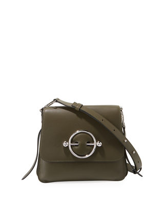 J.W.ANDERSON Disc Leather Crossbody Bag - Green, Khaki