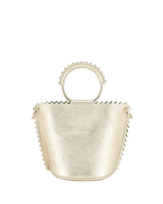 HELEN METALLIC LEATHER BUCKET BAG