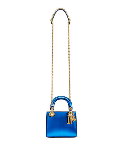 f1d9c2c661 Mini Lady Dior Bag with Metallic Calfskin and Chain