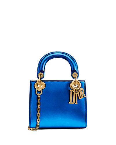Mini Lady Dior Bag with Metallic Calfskin and Chain