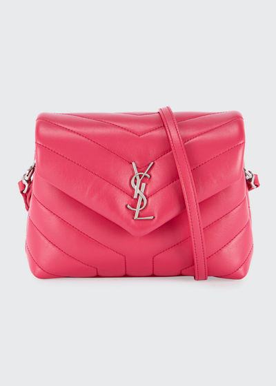 Loulou Monogram YSL Mini V-Flap Calf Leather Crossbody Bag