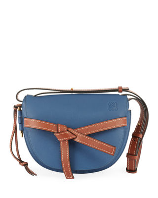 LOEWE Gate Small Grained-Leather Cross-Body Bag, Blue