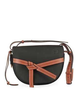Gate Small Grained-Leather Cross-Body Bag, Black/Brown