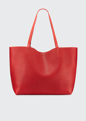 Park Lux Grained Leather Shopper Tote Bag in Red