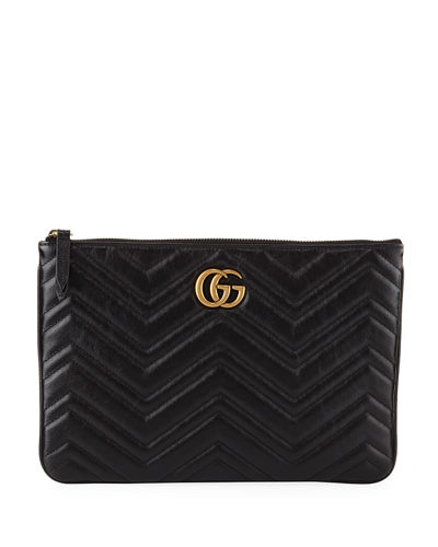 bb897b745f74ea GG Marmont Quilted Leather Zip Pouch Bag Quick Look. Gucci