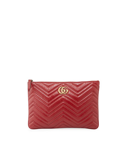 4f3d2b29333 GG Marmont Quilted Leather Zip Pouch Bag