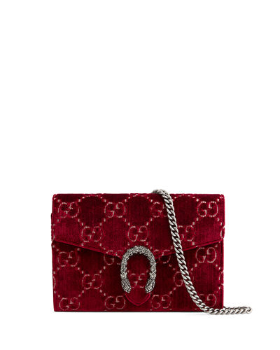 Gucci Dionysus Velvet GG Supreme Wallet On Chain