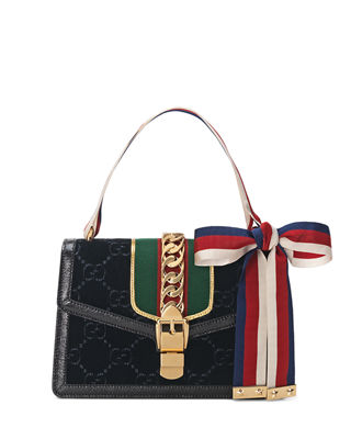 Small Sylvie Velvet Shoulder Bag - Black