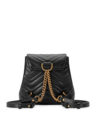 Gucci Gg Marmont Chevron-Quilted Leather Backpack, Black