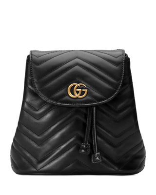 GG MARMONT 2.0 MATELASSE LEATHER MINI BACKPACK - BLACK
