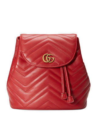 GG MARMONT 2.0 MATELASSE LEATHER MINI BACKPACK - RED