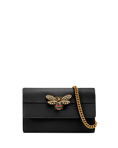 78fc2dddde7d6 Gucci Queen Margaret Leather Bee Wallet On Chain Bag